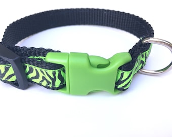 Neon Green Zebra Striped Extra Small Dog Collar, 12 inch pet collar