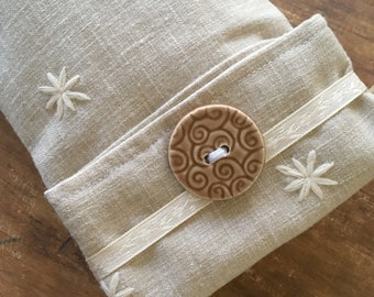 Flax Seed Eye Pillow with Linen Dust Cover and Washable Flax Sack Cover, you choose aromatherapy scent!