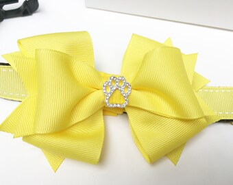 Yellow Boutique Bow Dog Collar with Sparkly Rhinestone Dog Paw