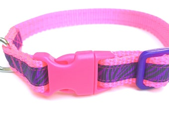 Dog Collar Hot Pink and purple zebra print for Extra Small Dog