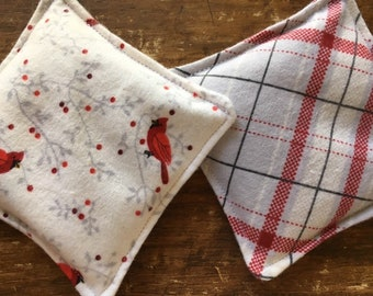 Cheerful Cardinals & Plaid Hand Warmers