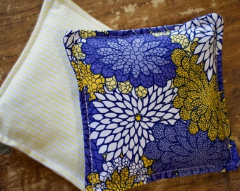 Brilliant Blue and Yellow Vanilla Scented Flax Seed Hand Warmers