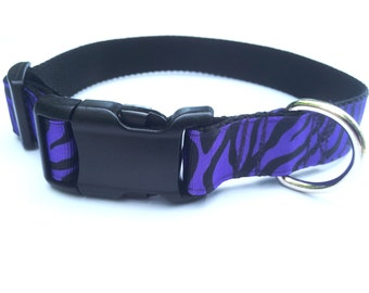 Zebra Striped Dog Collar, Cute Dog Collar, Purple Dog Collar, Girl Dog Collar, Large Dog Collar, female dog collar, dog collars for girl