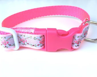 Hot Pink Floral White Extra Small Dog Collar, 12 inch pet collar