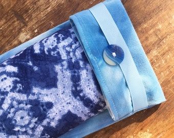 Soothing Tie Dye Blue Flax Eye Pillow with Washable Flax Sack Cover, you choose aromatherapy scent!