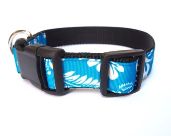 Blue Hawaiian Large Dog collar