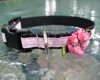 Cute Pink XS Dog Collar with Ribbon Flower