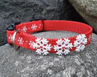 XS Dog Collar, Snowflake dog collar, cute dog collar, winter dog collar, dog collar for boy, dog collar for girl, christmas collar