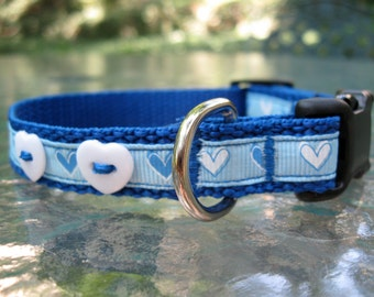 My True Blue Heart XS Dog Collar