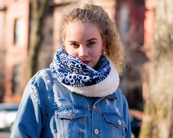 Blue Fleece Cowl Neck Scarf