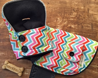 Chevron Striped Reflective Dog Raincoat