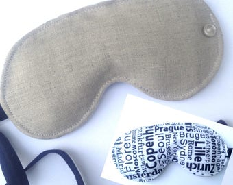 Linen Sleep Mask, Travel Blindfold, sleeping mask, sleeping blindfold, travel accessory, spa mask, adjustable strap