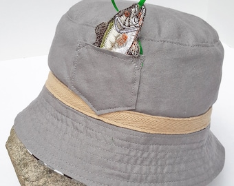 Fishing Hat with Peek-A-Boo Patch Pocket and Hidden Fish