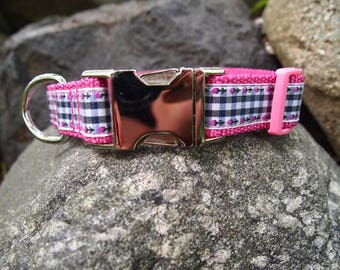 Pink & Blue Dog Gingham Collar with Metal Hardware