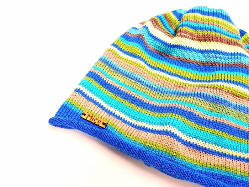 gift for men or women Unisex beanie cotton linen viscose silk Spring fall slouchy beanie Spring beanie stripe hat striped knit hat