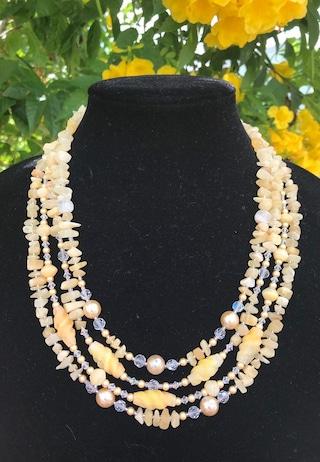 Golden Honey Calcite multi strand necklace w Swarovski crystals, pearls, swirled yellow calcite natural semiprecious stones, chunky, boho