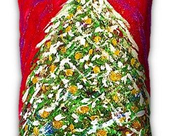 "Item #39 Oh Christmas Tree Pillow (16"" x 12"")"