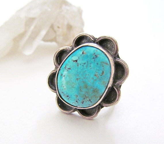 Beautiful vintage southwest sterling silver heart ring with turquoise  vintage sterling silver heart turquoise ring  MYYBBA