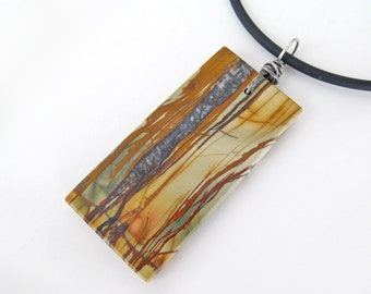Picasso Jasper Stone Pendant, Natural Earthy Black Brown Stone Slab Necklace, Father's Day Gifts, Unisex Jewelry for Men / Women