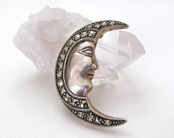 Moon Pin, Sterling Silver Pin Brooch, Moon Jewelry, Crescent Moon, Man in the Moon, Celestial Jewelry, Vintage Sterling Marcasite Jewelry