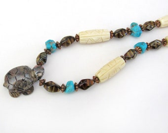 Turtle Tiger's Eye Necklace with Turquoise & Carved Bone, Multi Stone Beaded Statement Necklace, Unique Gifts for Turtle Lovers