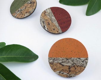 Cork Horizon Brooch, Natural Cork and Fennel, Orange or Green, Statement pin badge, Eco gift