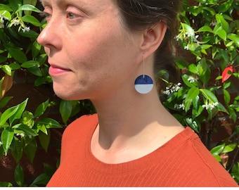 Shape Shift drop earrings - Reversible - Eco silver & cork