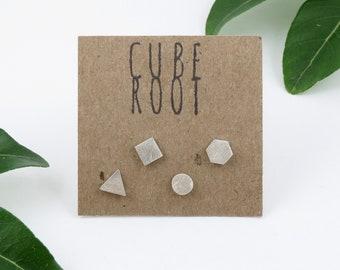 Tiny Eco Silver mismatch stud earrings, Geometric shapes, Hexagon, Square, Circle, Triangle