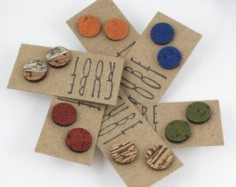 Cork Dot Studs, Sterling Silver Posts, Eco earrings, Stocking Filler