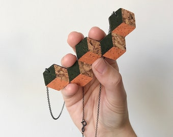 Cork Stagger Cube Necklace with Sterling Silver chain - Orange, Grey