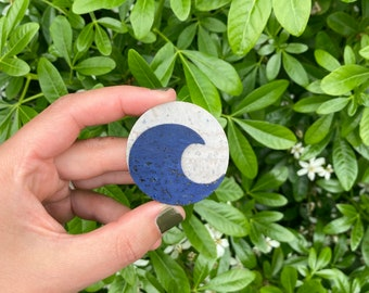 Cork Wave Brooch, Statement pin badge, Grey and Blue, Eco gift