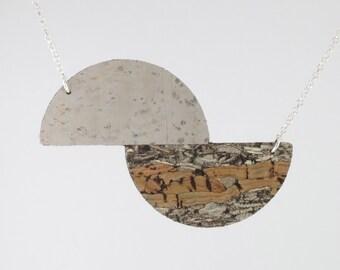 Reversible Cork Slice Necklace, Sterling Silver Belcher Chain, Eco jewellery