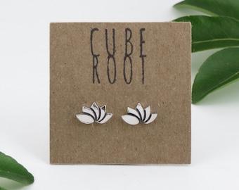 Lotus Flower Studs, Fine Silver Earrings, Stocking Filler