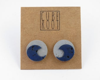 Cork Wave Studs, Sterling Silver Posts, Eco earrings