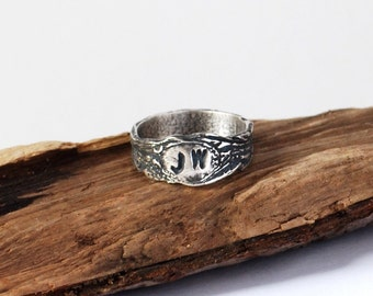 Personalised Initials Wood Grain Fine Silver Ring