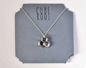 "Honeycomb dark fine silver necklace with 18"" Curb Chain"