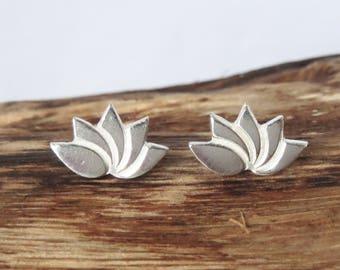 Lotus flower fine silver stuf earrings