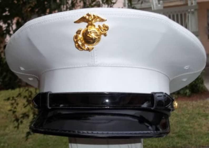 US Marine Corps USMC Enlisted dress blue white frame visor hat  62d3fd66fa74