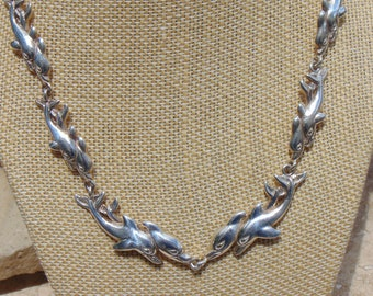 D'Molina ~ Mexican Sterling Silver Dolphins Swimming Side By Side Link 18 Inch Necklace - 65 Grams