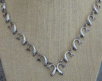 Vintage Sterling Silver Curled Dolphin Link Necklace - 17 Inches