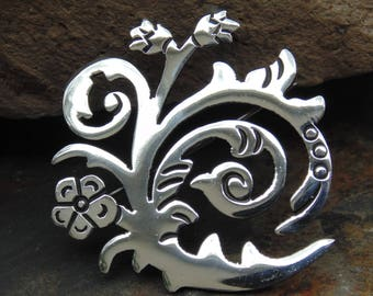 Los Ballesteros ~ Vintage Taxco Sterling Silver Swirly Floral Pin / Brooch