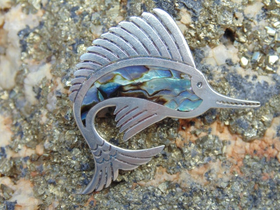 Maricela Vintage Sterling Silver And Abalone Marlin Etsy