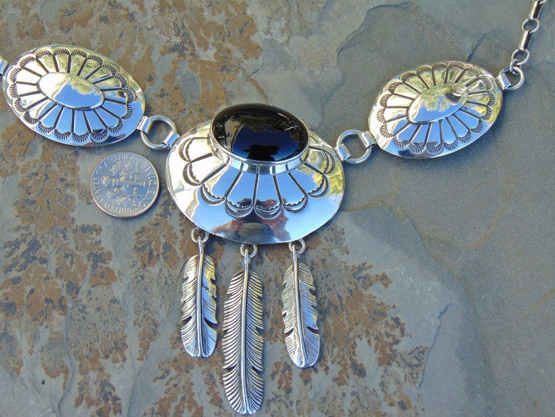 J Multine ~ Navajo Sterling Silver Black Onyx Concho 19 Inch Necklace with Stamp Work and Feathers 53 Grams
