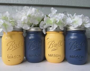 Boule peinte et en détresse Mason pots - marine pâle et bleu jaune-ensemble de Vases 4-fleur, mariage rustique, pièces maîtresses