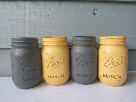 Painted And Distressed Ball Mason Jars Gray And Pale Etsy