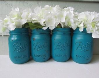 Boule peinte et en détresse Mason bocaux - Dark Turquoise-ensemble de Vases 4-fleur, mariage rustique, pièces maîtresses