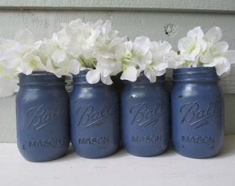 Peint et vieilli boule Mason pots - bleu marine bleu - lot de 4-fleur Vases, mariage rustique, centres de table