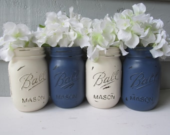 Boule peinte et en détresse bocaux Mason marine bleu et crème-Set de 4-fleur Vases, mariage rustique, pièces maîtresses