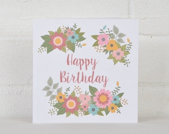 Birthday Card with Flowers, Birthday Card for her