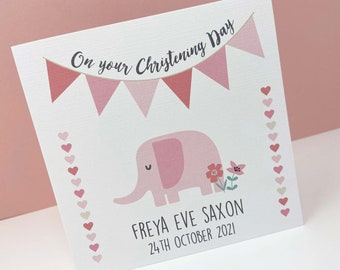 Personalised Christening Card for a girl, Christening Card, Elephant Card, Custom Card for a Child, Bespoke Ceremony Card, Christening Gift